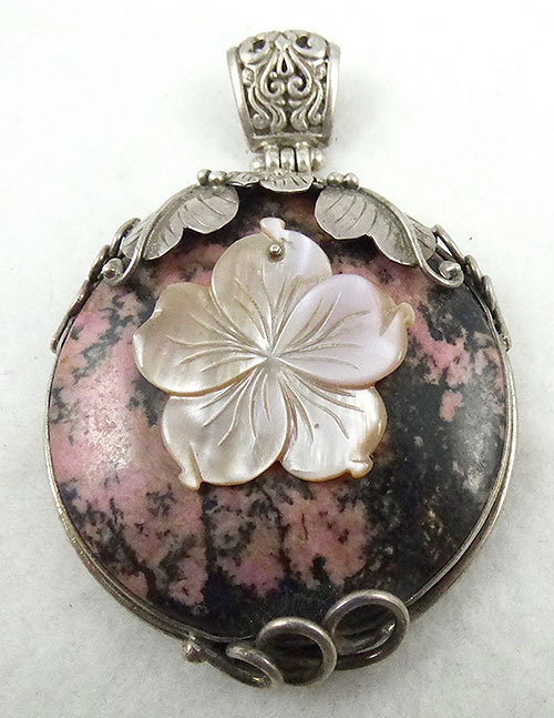 Natural Shell - Sterling Rhodonite Mother-of-Pearl Pendant