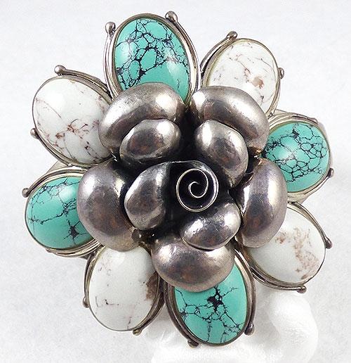 Thailand/Siam - Thai CFJ Sterling Howlite Flower Bracelet
