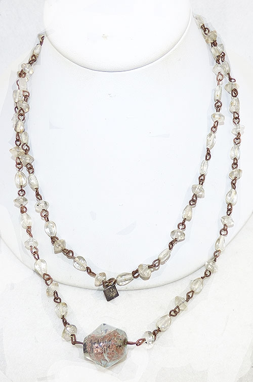 France - Marc Labat Clear Glass Bead Necklace
