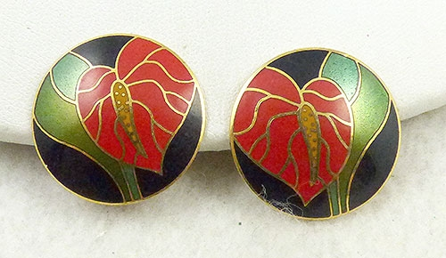 Laurel Burch Anthurium Earrings Garden Party Collection Vintage Jewelry