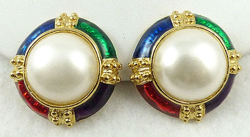 Pearl Jewelry - Faux Pearl Jewel Tone Enamel Earrings