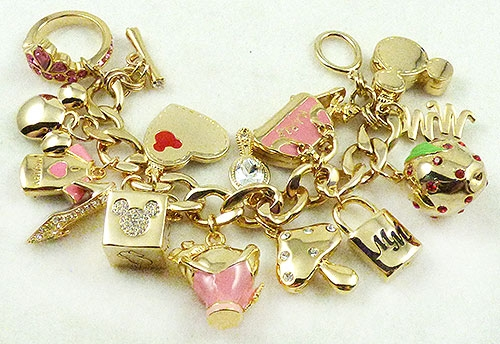 Newly Added Disney Rhinestone and Pink Enamel Charm Bracelet