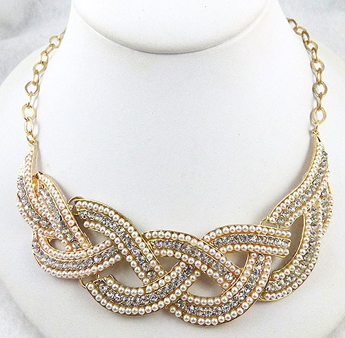 Necklaces - Rhinestone Faux Pearl Braid Necklace