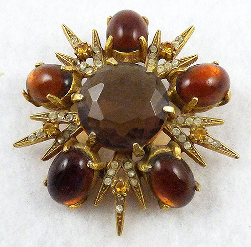 Autumn Fall Colors Jewelry - Dark Topaz Cabochon Starburst Brooch