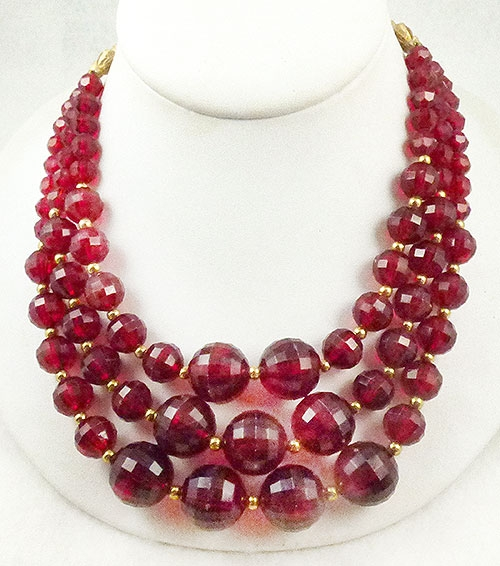 Newly Added Red Lucite Bead Triple Strand Necklace