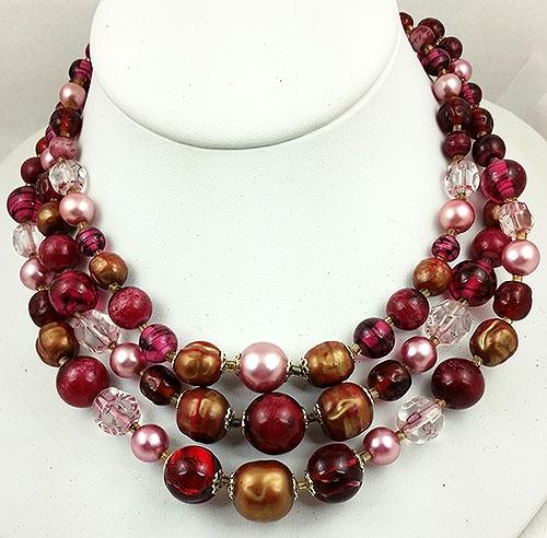 Japan - Japan Burgundy Glass Bead Triple Necklace