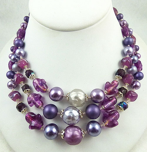 Newly Added Japan Purple Pearl and Glass Bead Necklace