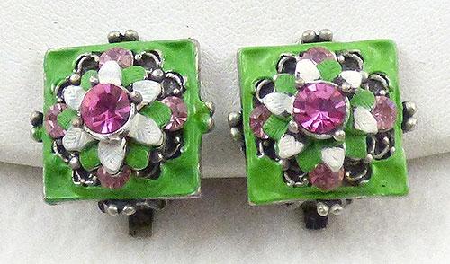 Earrings - Square Green Enamel Floral Earrings