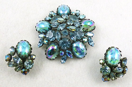 Regency - Regency Aqua Art Glass Brooch Set
