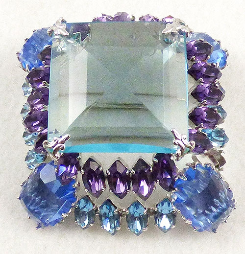 Brooches - Schreiner Aqua Blue Purple Square Stacked Brooch
