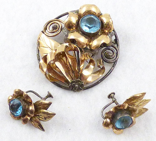 Hobé - Hobé Gold over Sterling Brooch Set