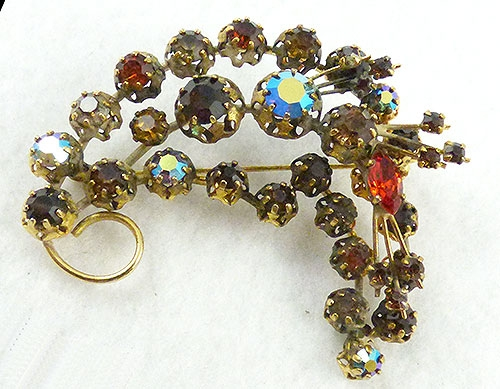 Autumn Fall Colors Jewelry - Austria Dark Topaz Rhinestone Brooch