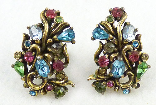 Hollycraft - Hollycraft Pastel Rhinestone Earrings