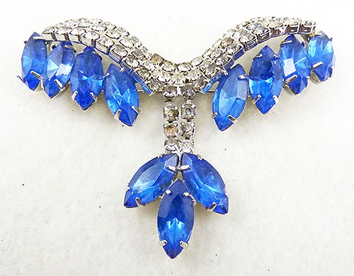 Brooches - Rhinestone and Blue Navettes Brooch