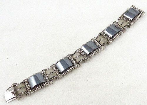 Germany - S. Christian Hematite Rock Crystal Marcasite Bracelet