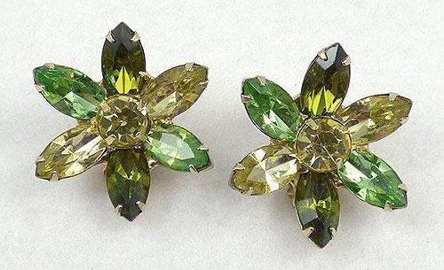Florals - Green & Yellow Rhinestone Flower Earrings