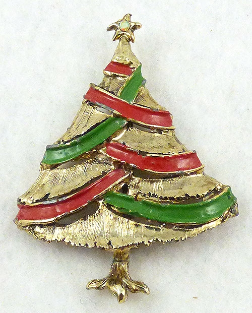 Brooches - Enamel Ribbon Christmas Tree Brooch