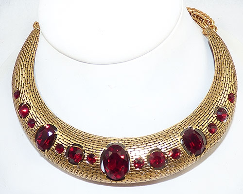 Newly Added Oscar de La Renta Red Crystal Collar Necklace