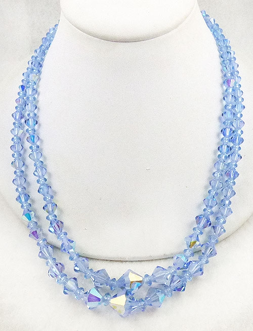 Newly Added Blue Crystal Beads Double Strand Necklace
