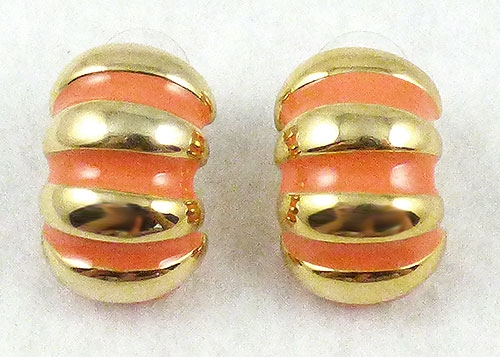 Lane, Kenneth J. - KJL Coral Enamel and Gold Striped Earrings