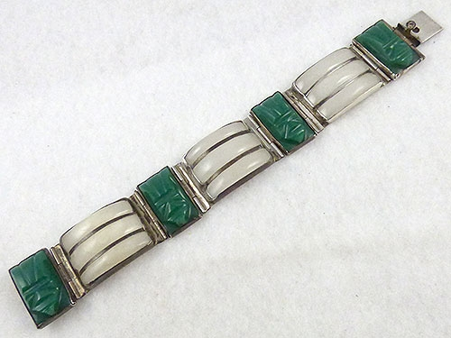 Mexico - Mexican Sterling Onyx Mask Bracelet