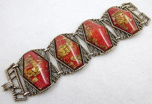 Confetti Plastic Jewelry - Red Gold Confetti Lucite Bracelet