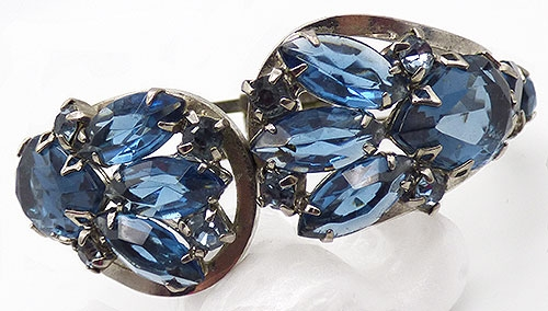 Newly Added Blue Rhinestone Hinged Clamper Bracelet