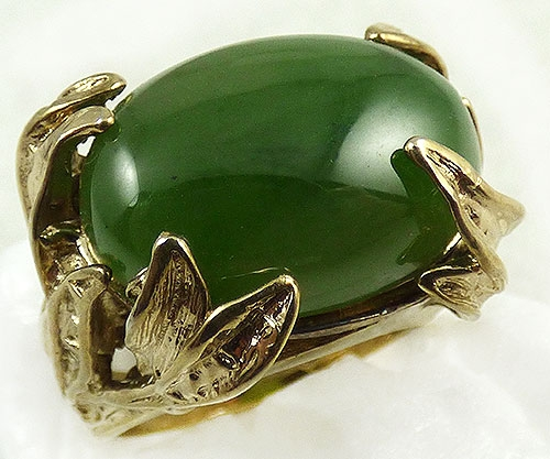 Newly Added Sterling Vermeil Leaves Jade Ring