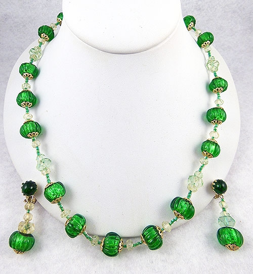 Japan - Japan Green Glass Melon Beads Necklace Set