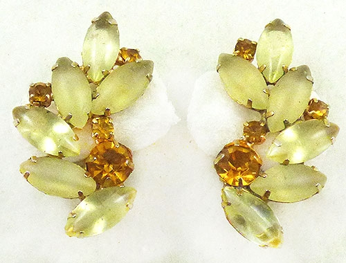 Newly Added Yellow Satin Glass Navette Earrings