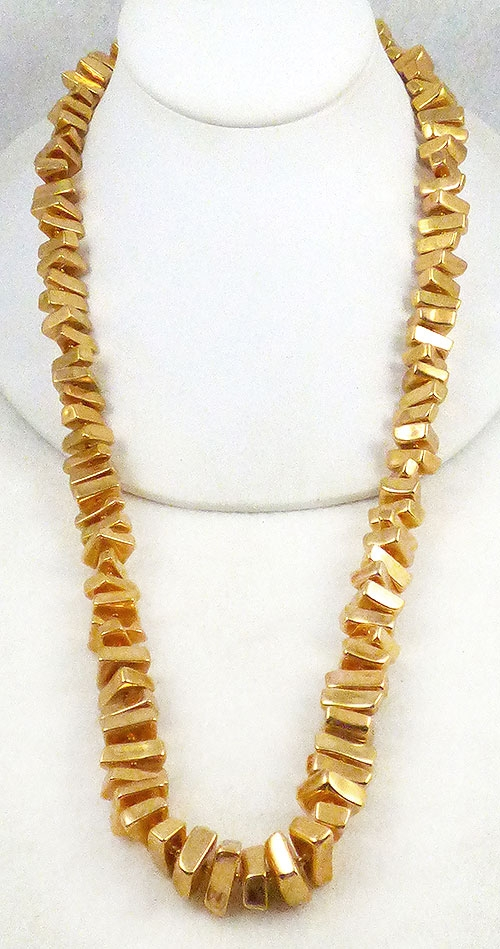 Newly Added Trifari Gold Brick Bead Necklace