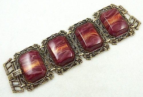 Colors for Fall-Winter 2018-2019 - Burgundy Lucite Wide Link Bracelet