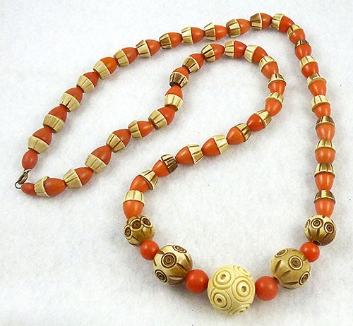 Necklaces - Art Deco Galalith Beads Necklace