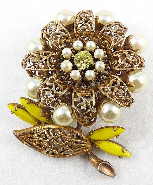 Hobé - Hobé Gold Filigree Flower Brooch