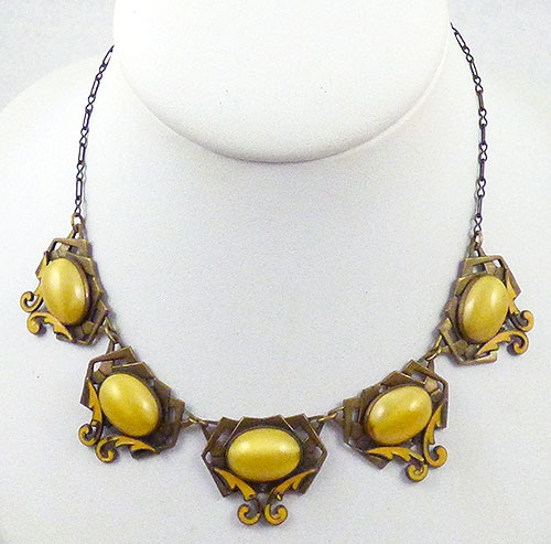 Necklaces - Czech Yellow Satin Glass Necklace