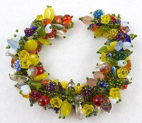 Italy - Venetian Glass Flowers & Beads Bracelet