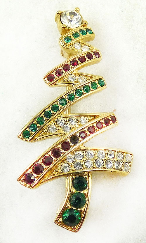Monet - Monet Rhinestone Christmas Tree Brooch