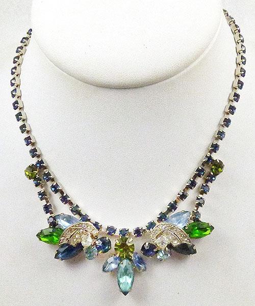 Newly Added Blue, Green and Aqua Rhinestone Necklace