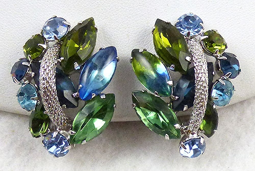 Earrings - Green and Blue Rhinestone Earrings
