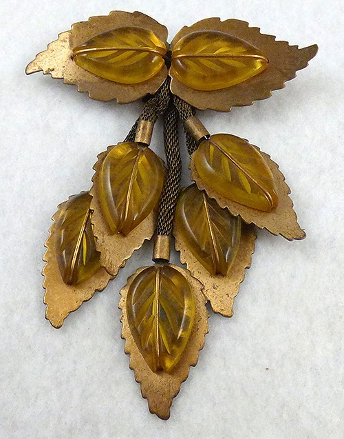 Autumn Fall Colors Jewelry - Brass and Apple Juice Prystal Leaves Brooch
