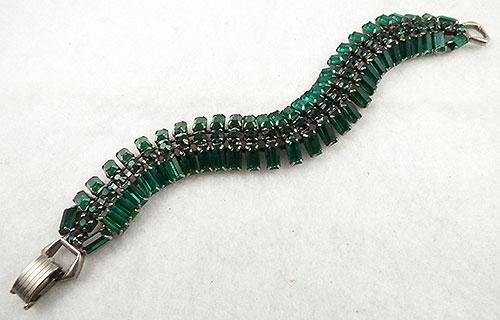 Bracelets - Green Rhinestone Baguette Bracelet