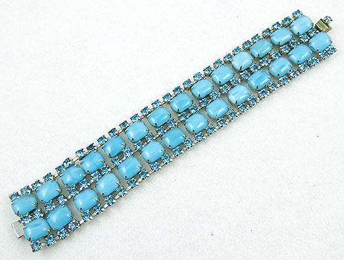 Bracelets - Turquoise Glass Moonstone  Rhinestone Bracelet
