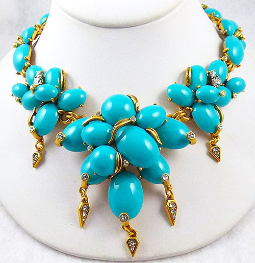 Necklaces - Oscar de La Renta Turquoise Cabochon Necklace