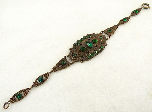 Newly Added Stamped Brass Green Rhinestone Bracelet