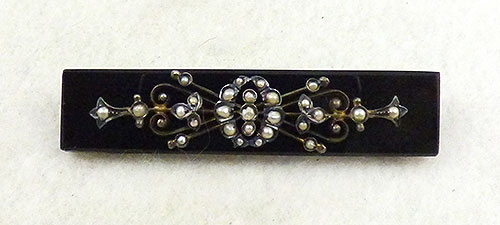 Victorian - Victorian Mourning Onyx Bar Pin