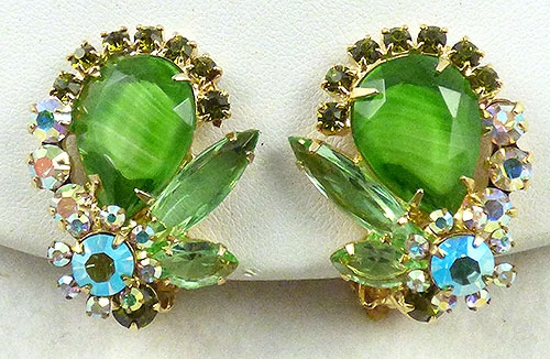 Earrings - DeLizza and Elster Green Givre Earrings