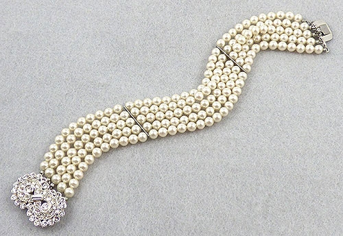 Bridal, Wedding, Special Occasion - 5-Strand Simulated Pearl Rhinestone Clasp Bracelet