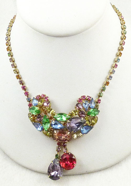 Spring Pastel Jewelry - Rainbow Pastel Rhinestone Necklace
