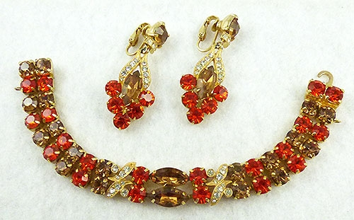 Autumn Fall Colors Jewelry - Eisenberg Ice Rhinestone Bracelet Set