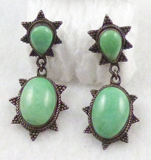 Ethnic & Boho - Mint Green Stone Sterling Earrings